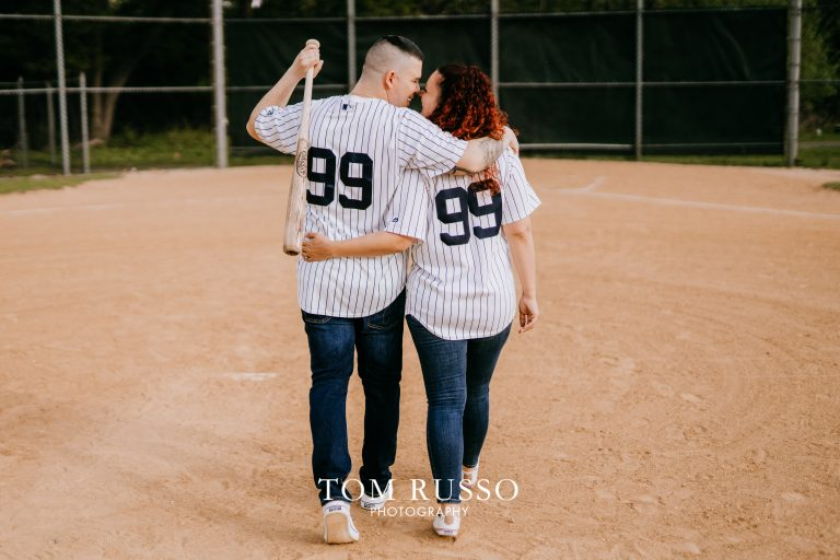Stefanie & Pete Baseball Engagement Session Fair Lawn NJ 6